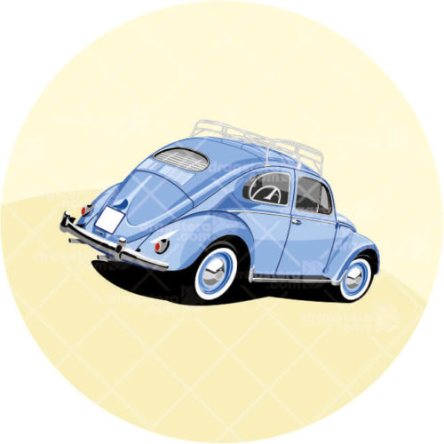 VW Beetle Blue Design T-Shirt