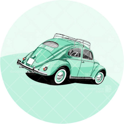 VW Beetle Green Design T-Shirt