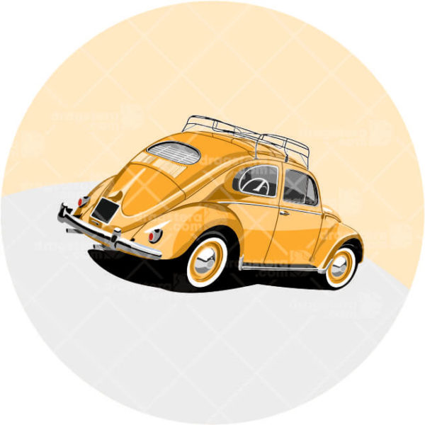 VW Beetle Orange Design T-Shirt