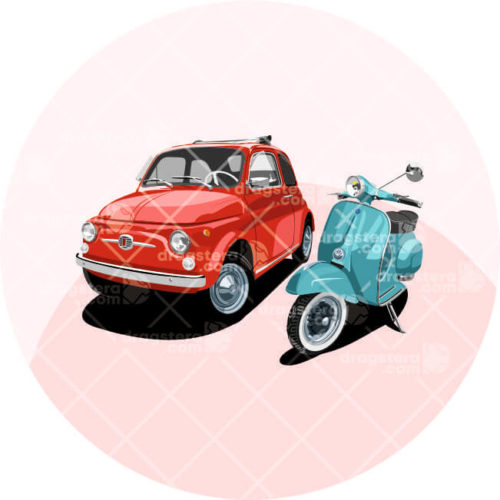 Vespa and Fiat 500 Red Design T-Shirt