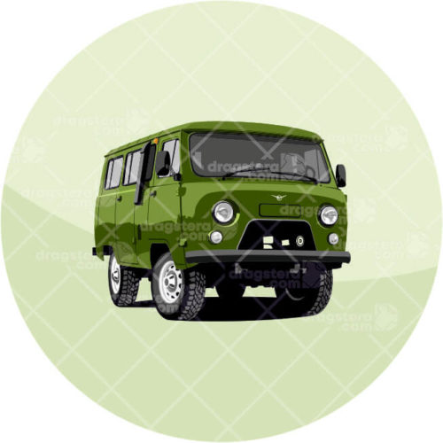 UAZ 452 Olive Green Design T-Shirt