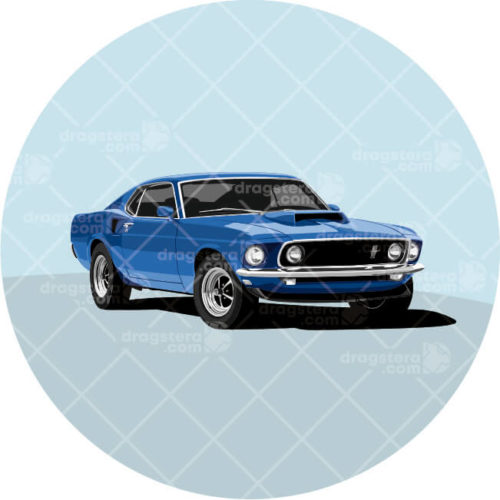 Ford Mustang Boss 429 Blue Design T-Shirt