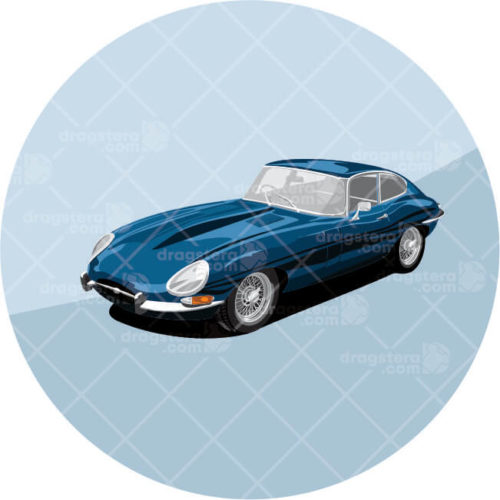 Jaguar E-Type Blue Design T-Shirt